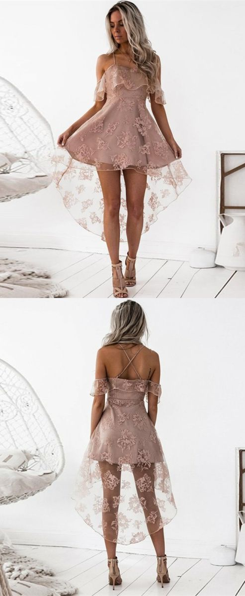 blush homecoming dresses, high low homecoming dresses, spaghetti straps homecoming dresses, criss cross straps homecoming dresses