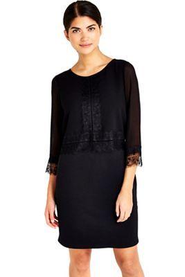 Wallis Petite black lace trim dress   Debenhams