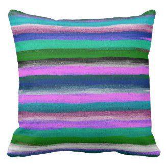 Watercolor striped throw pillows   Watercolor Home Decor
