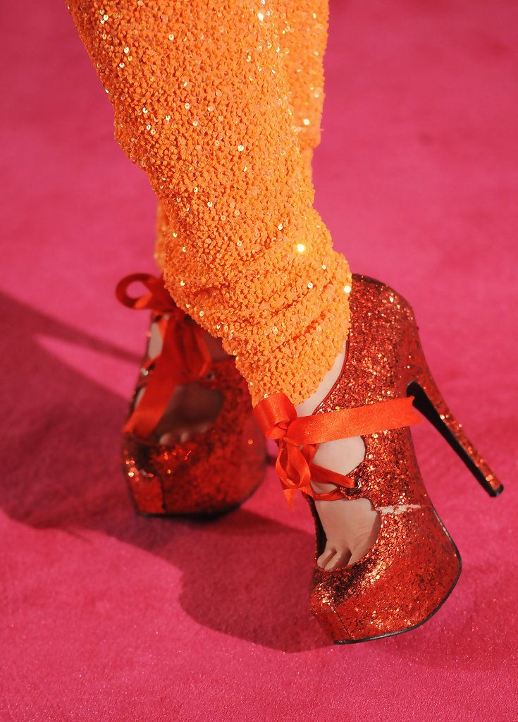 A view of the footwear of singer Paloma Faith as she attends the World premiere of 'St Trinian's 2: The Legend of Fritton's Gold' at the Empire Leicester Square on December 9, 2009 in London, England.