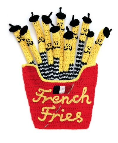 Voila!....French fries by Kate Jenkins Kate Jenkins is a knitting genius and one of our most original and innovative UK artists. Famous for her unique crocheted food.