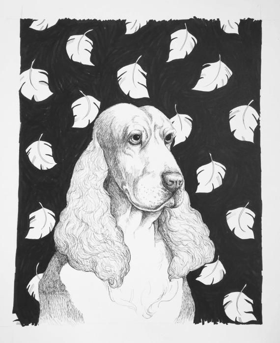 Spaniel Dog drawings Unique dog art Marker art Sharpie
