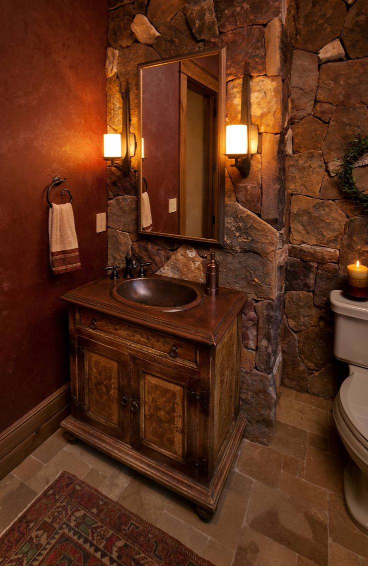 Rustic master bathroom with log walls amp undermount sink zillow digs - Find This Pin And More On Bathrooms