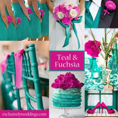 Teal and Fuchsia Wedding Colors Gonna do the light blue instead of teal and have pink be the accent color :):