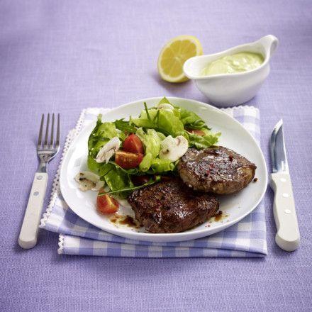 Steak mit Salat (Trennkost - Eiweiß) Rezept