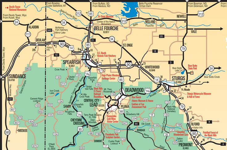 Black Hills Northern Hills Map South Dakota See The
