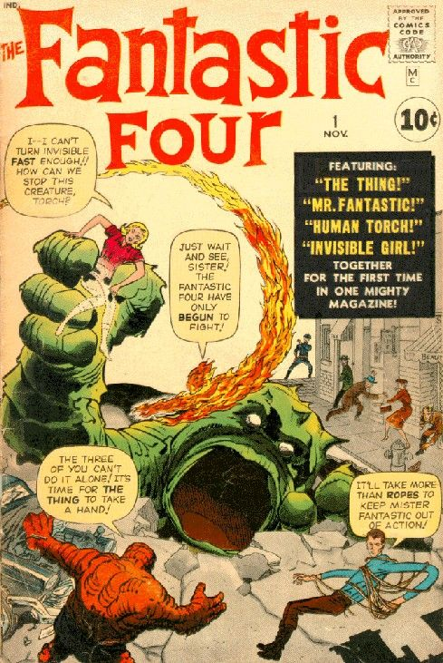 The fantastic Four first appeared in Fantastic Four #1, November 1961.  Co-created by Stan Lee and Jack Kirby the group marked a new realism in comics and would develop the essential storytelling and scripting formula that Marvel continues to use.