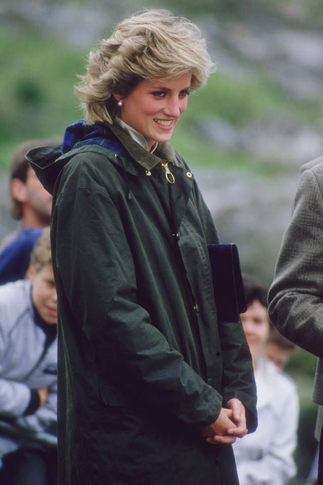 The Barbour Coat, 1894 - iconic status in 1980s when Princess Diana sported it often - Prep School - Preppy Fall Fashion Trend - Harper's BAZAAR