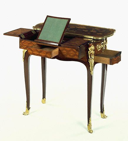 Mechanical Writing and Toilet Table Jean-François Oeben  French, Paris, about 1750  Oak veneered with various dyed woods; iron mechanism; gilt-bronze mounts