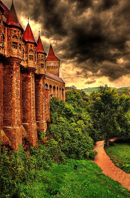 I want to go here.  Hunyad castle from Hunedoara, Transylvania, Romania. Stories say that Vlad Tepes, the person that inspired the #Dracula character, was imprisoned here for 7 years after being deposed in 1462. Here Vlad impaled bugs and rodents that were invading his quarters. (Photoghraph by Dan Hiris)