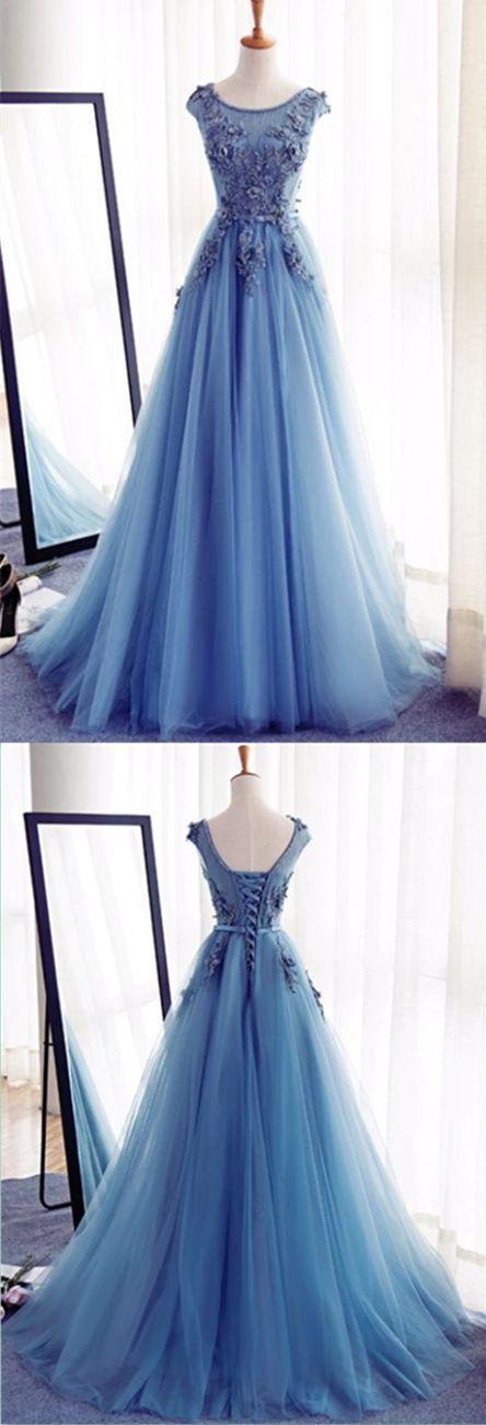 Charming Round Neck Blue Tulle Handmade Long Prom Dress prom,prom dress,prom dresses,long prom dress,fashion,fashions,womens fashion