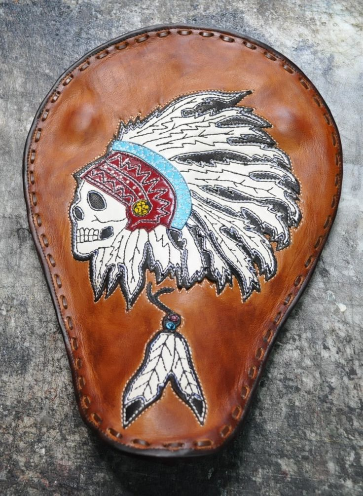 Motorcycle Pan Seat Indian Chief Skull