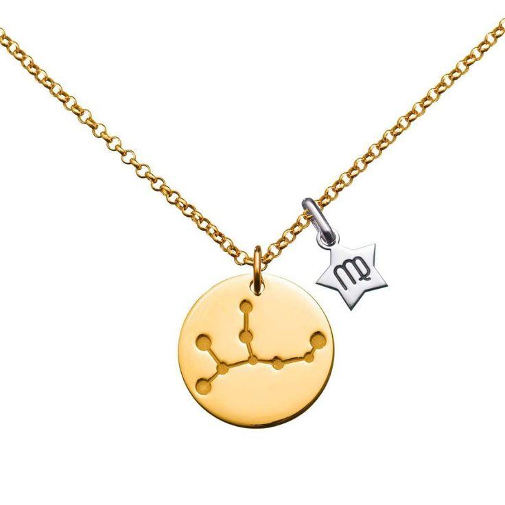 Colgante de oro con constelación Virgo. Una joya de Argyor en oro de 18k perfecta como regalo personalizado.