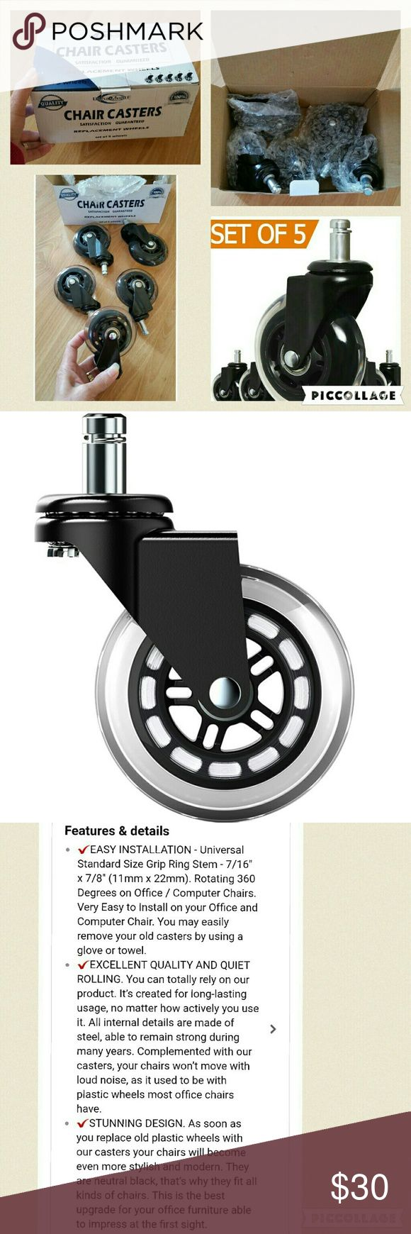 CHAIR CASTERS REPLACEMENT WHEELS BRAND NEW : Office Chair Casters Wheels Replacement - Set of 5 - NEW 2017 Model - Rollerblade Style. Clear Polyurethane Material - SAFE for Hardwood Floors & Carpet. Universal Easy Installation.  CHECK OUT MY OTHER LISTINGS FOR MORE BRAND NEW VARIETY ITEM'S WITH STILL ON EACH ORIGINAL PACKAGING! ! AND GET DISCOUNT WHEN BUNDLING...JUST MESSAGE ME ANYTIME! HAPPY SHOPPING! Accessories