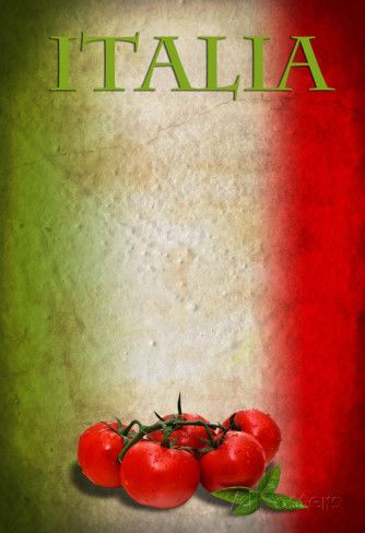 Traditional Italian Flag With Tomatoes And Basil poster