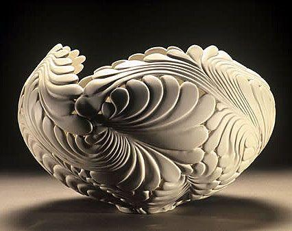 Jen McCurdy wheel-thrown porcelain: Jungle Vessel