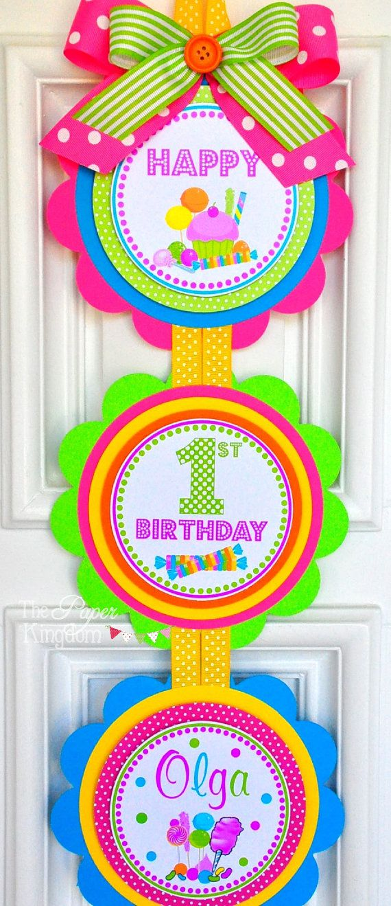 Candyland Vertical Door Hanger Welcome Door Sign Candyland by thepaperkingdom | Etsy