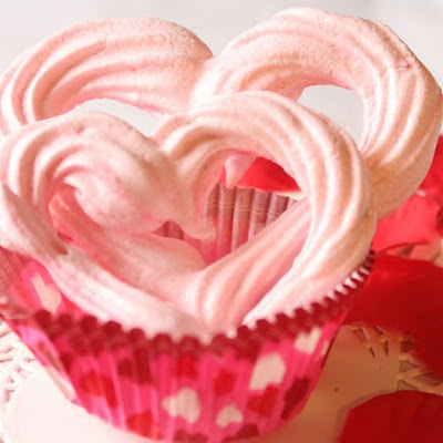 Strawberry Heart Meringues