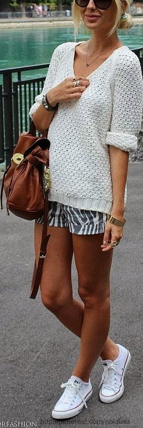 Shorts With White Sweater & Shades