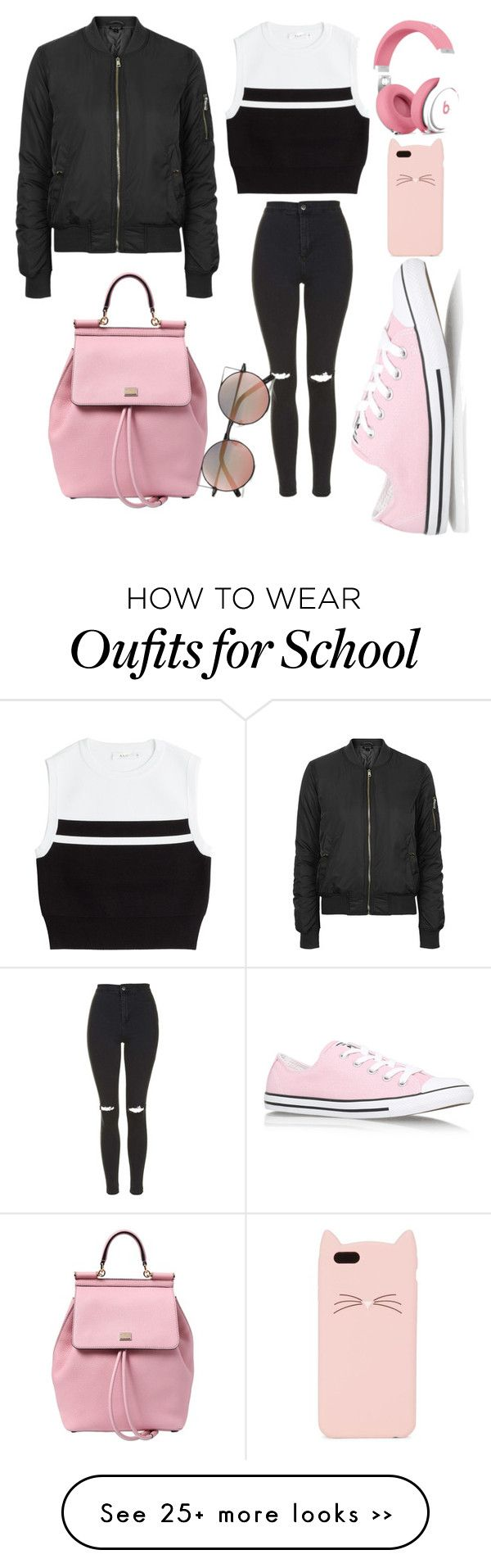 """Back to school"" by anaisonedirection on Polyvore featuring Topshop, Dolce&Gabbana, A.L.C., Converse, Kate Spade and Linda Farrow"