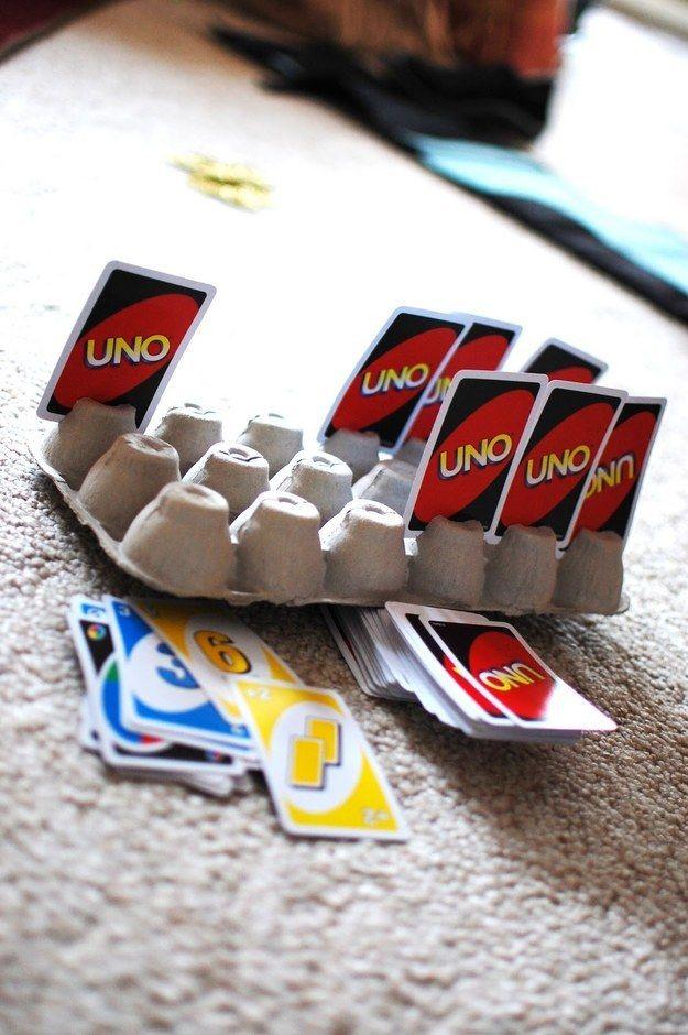 Use an egg carton for card games.   33 Genius Hacks Guaranteed To Make A Parent's Job Easier