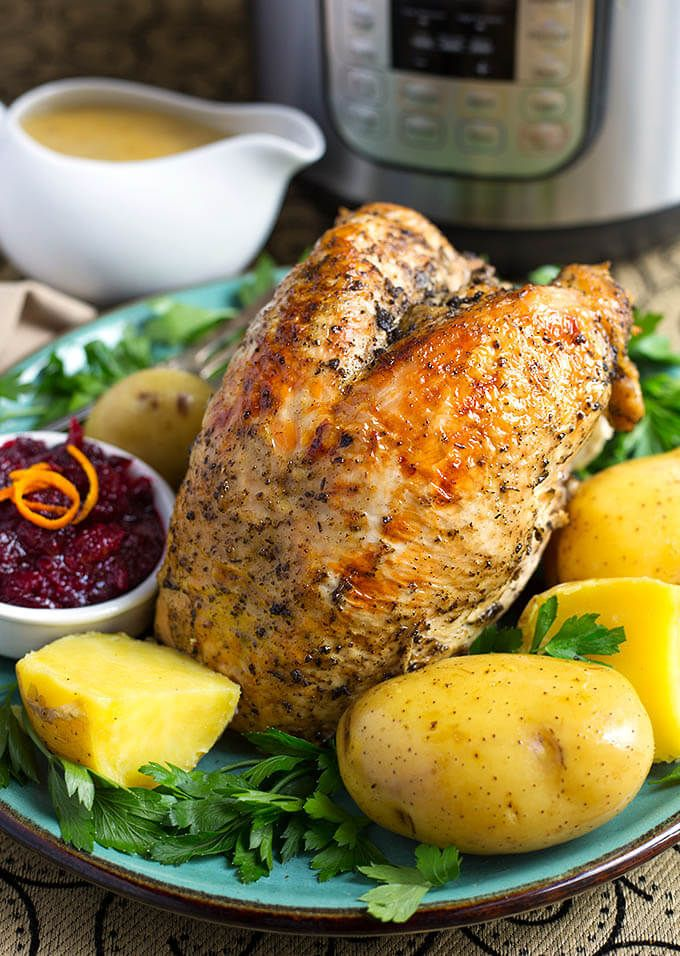 Instant Pot Turkey Breast Potato Dinner is a one pot meal you can make in your electric pressure cooker. For Thanksgiving or a special occasion. Plus gravy!