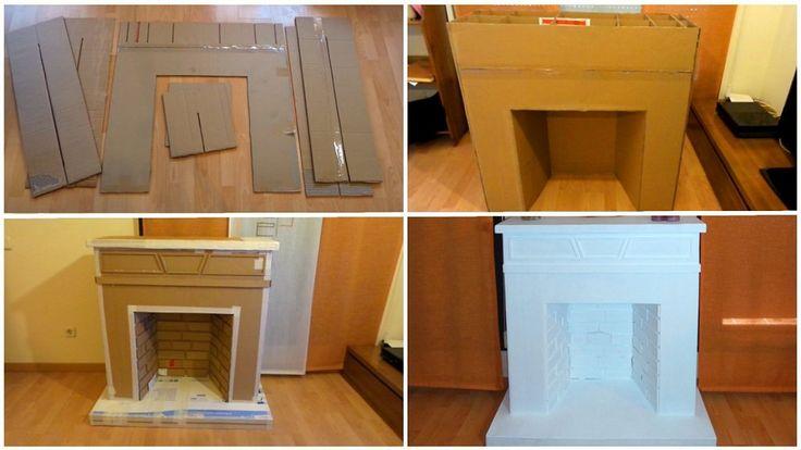 Una chimenea hecha con cajas de cartón reciclado | Aprender manualidades es facilisimo.com
