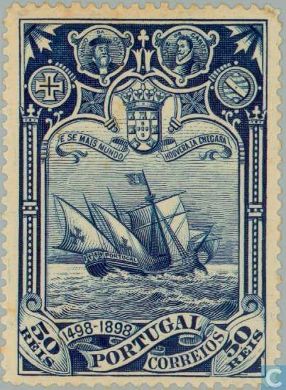 Discovery of sea route to India 1898 old postage stamp - Portugal