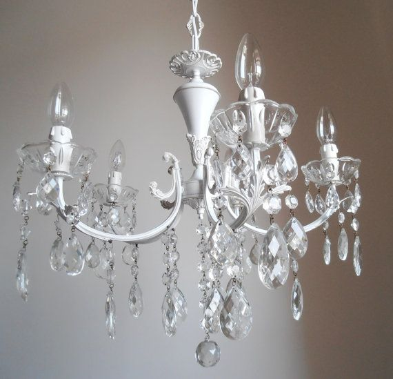 lampadario goccia : WHITE and CHIC 5 arms vintage Italian crystal chandelier, shabby chic ...