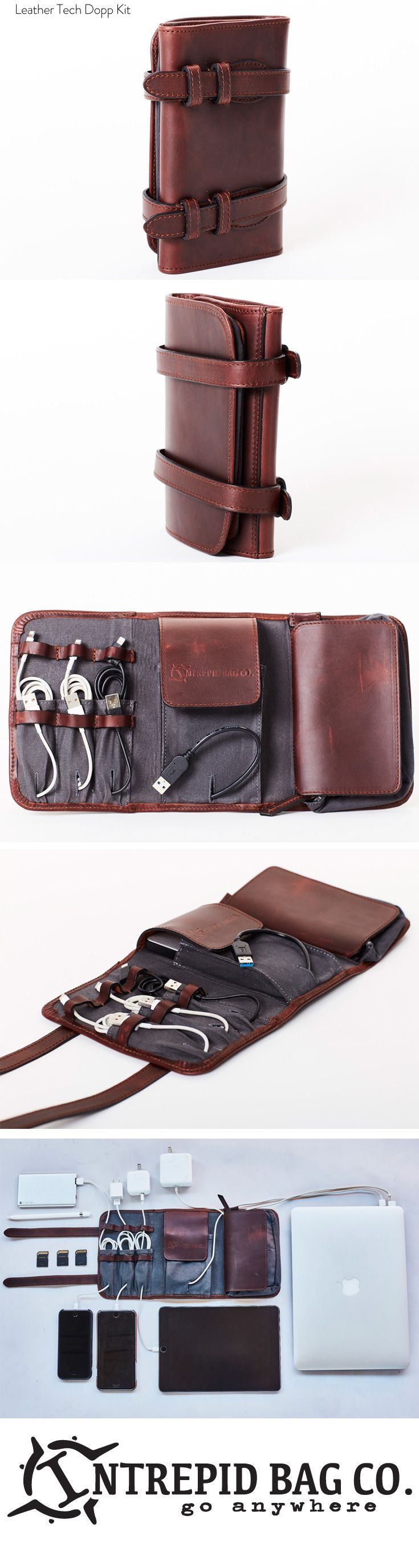 https://www.intrepidbags.com/products/intrepid-tech-roll Intrepid Leather Tech Dopp Kit. A rfull grain leather rolling dopp kit for all your cords, accessories, and small tech. Keeps all your essentials close and organized in one slick package. Available at Intrepid Bag Co!
