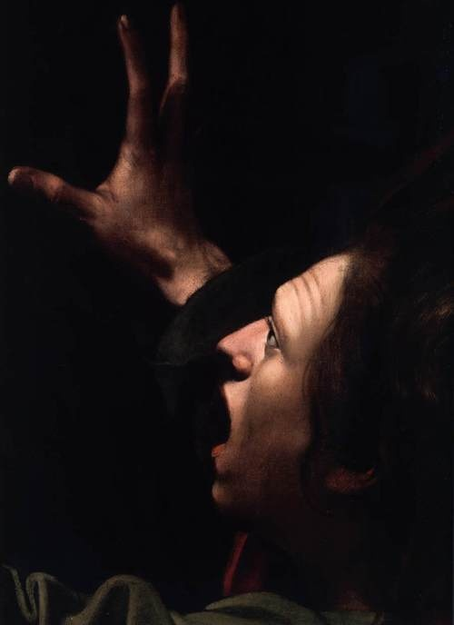 Caravaggio. The Taking of Christ, detail, c. 1602, The National Gallery of Ireland, Dublin,.