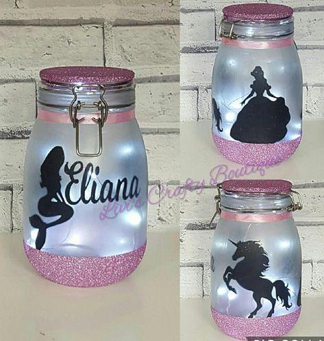 Personalised Night light,Mood Lighting,Little Mermaid,Jar With Fairy Lights,Light Jar, Princess Gift, Girls Bedroom Light,Unicorn Gift