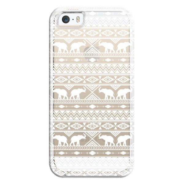 iPhone 6 Plus/6/5/5s/5c Bezel Case - Elephant Tribal White Clear ($35) ❤ liked on Polyvore