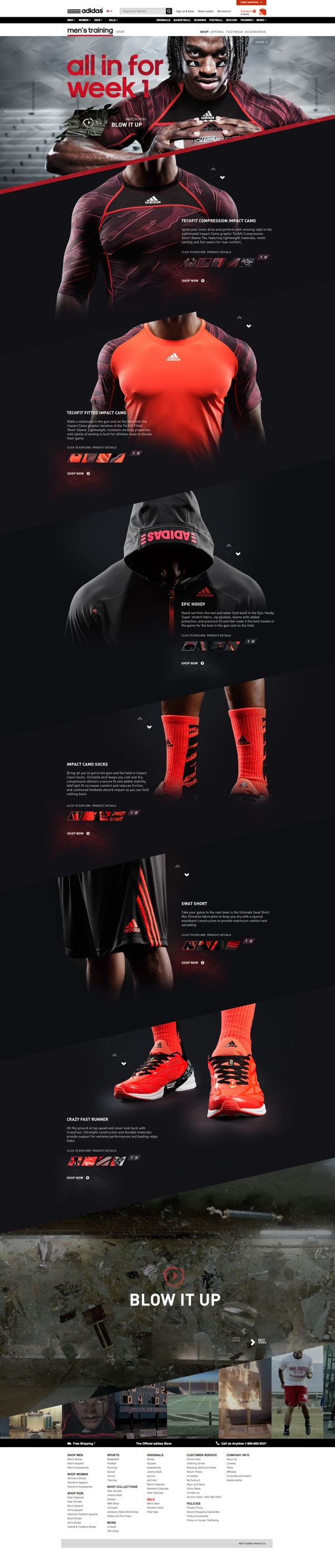HTML5 experience showcasing the impact camo collection on adidas.com. Subtle parallax scrolling and interactions were developed across the site bringing the campaign to life.