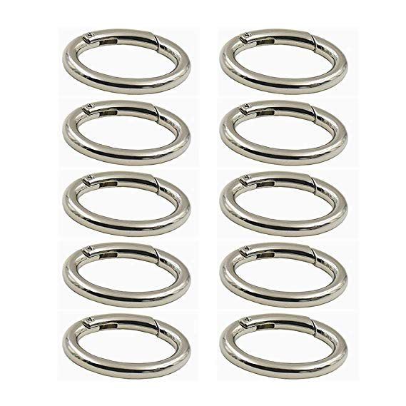 4pcs Antique Silver Oval Carabiner Spring Snap Clip Hook Keychain Hiking