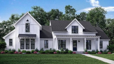 Home Plan HOMEPW78212 - 2742 Square Foot, 4 Bedroom 3 Bathroom + Farmhouse Home with 2 Garage Bays | Homeplans.com