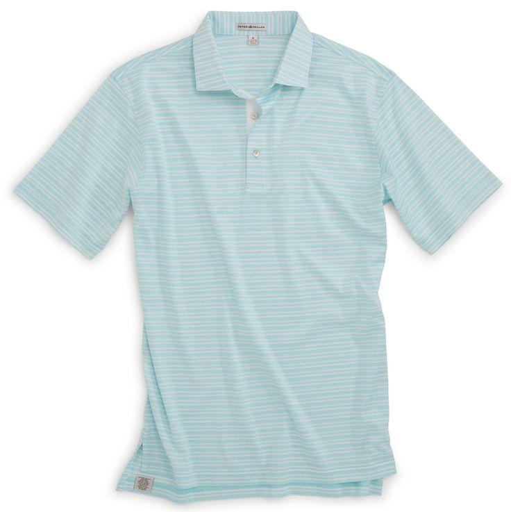 Numan stripe cotton lisle cotton golf shirts for Peter millar golf shirts