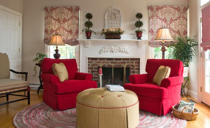 Fascinating Family Room Decor Ideas With Large Round Rugs Under Red Sofa Also Using Curtains For Glass Window
