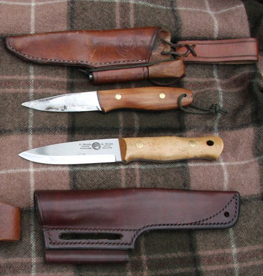 Roger Harrington Bison Bushcraft knife and Ray Mears Woodlre Alan Wood knife