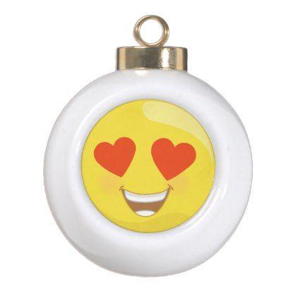 #Love Heart Emoji Christmas Ornament - #emoji #emojis #smiley #smilies