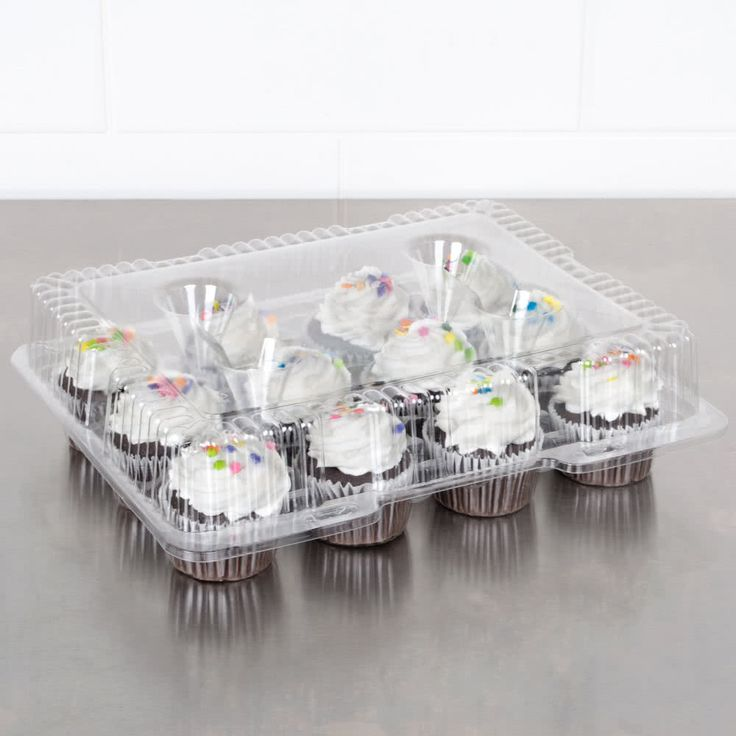 Polar Pak 9513 12 Compartment Clear Hinged PET Cupcake Take Out Container - 5/Pack