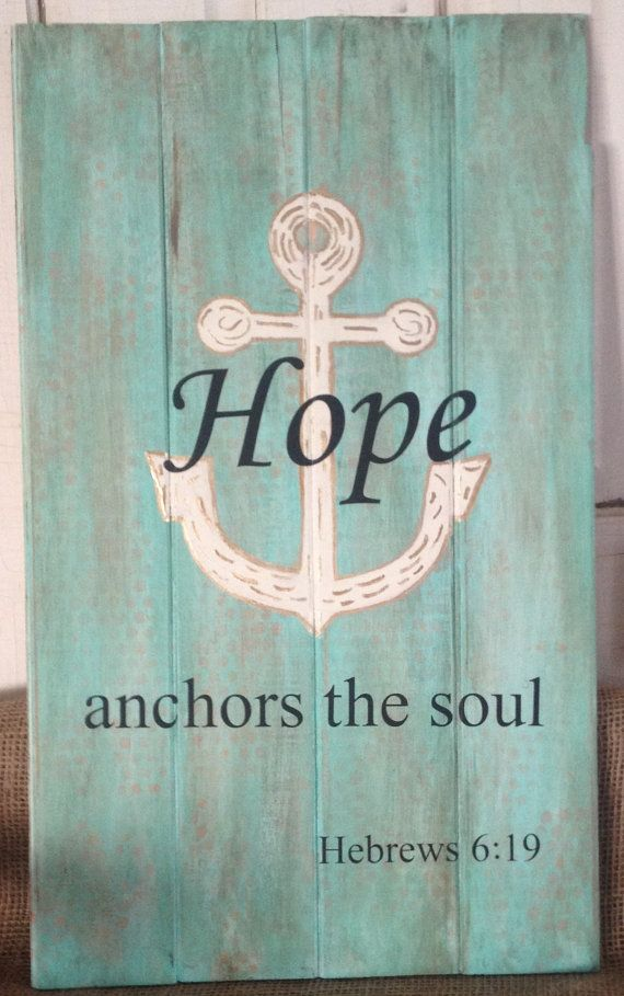 A hand painted wood sign with the verse Hebrews 6:19 ~ Hope Anchors the Soul. It is lightly antiqued in a chocolate brown wash and painted the colors of the sea with shades of teal and aqua layered over random coral dots...very unique and shabby chic. The anchor is outlined in metallic gold and filled with random gold accents. Thank you for looking! *SIZE ~ 23 1/2 x 14  *Sign is hand painted  *Wording is in black vinyl  *Comes ready to hang with hanger attached.  *CUSTOM ORDERS ~ if you…