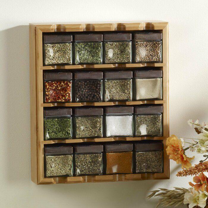 Kamenstein Bamboo Inspirations 16 Jar Spice Jar Rack Set