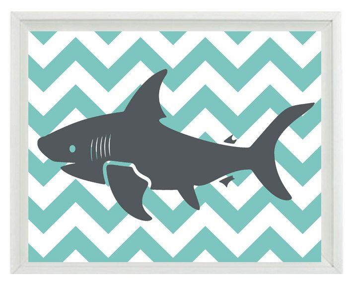 Shark Art Print Set  Chevron Nursery Aqua Gray by RizzleandRugee, $15.00
