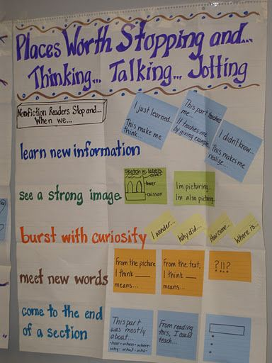 GREAT anchor chart!! Places worth stopping and thinking...talking...jotting