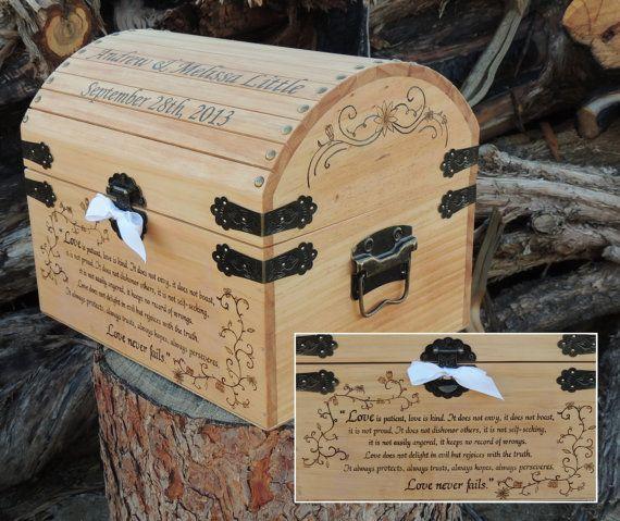 Wedding Time Capsule / Memory / Keepsake / Card Box Wood Burned Custom…