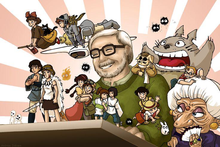 Hayao Miyazaki entouré de ses créations