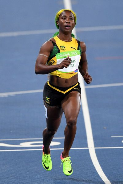 Shelly-Ann Fraser-Pryce of Jamaica competes during the Women's 100m Round 1 on…