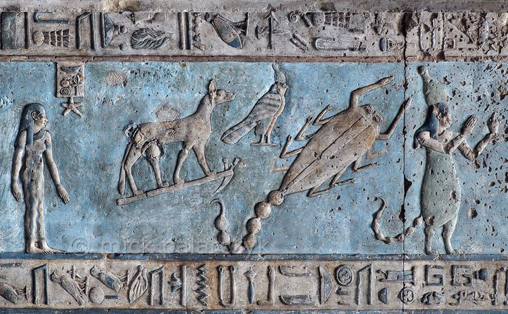 'Scorpio on astronomical ceiling at Dendera.' A giant scorpion with curved tail portrays the zodiac  sign Scorpio on the astronomical ceiling in the outer hypostyle hall of the Hathor Temple at Dendera. The ceiling consists of seven separate strips but here we are looking at a detail of the upper register of the WESTERNMOST STRIP.  There are six zodiac signs depicted in the entire westernmost strip (see picture 29585 till 29590) and the other six can be found on the ...
