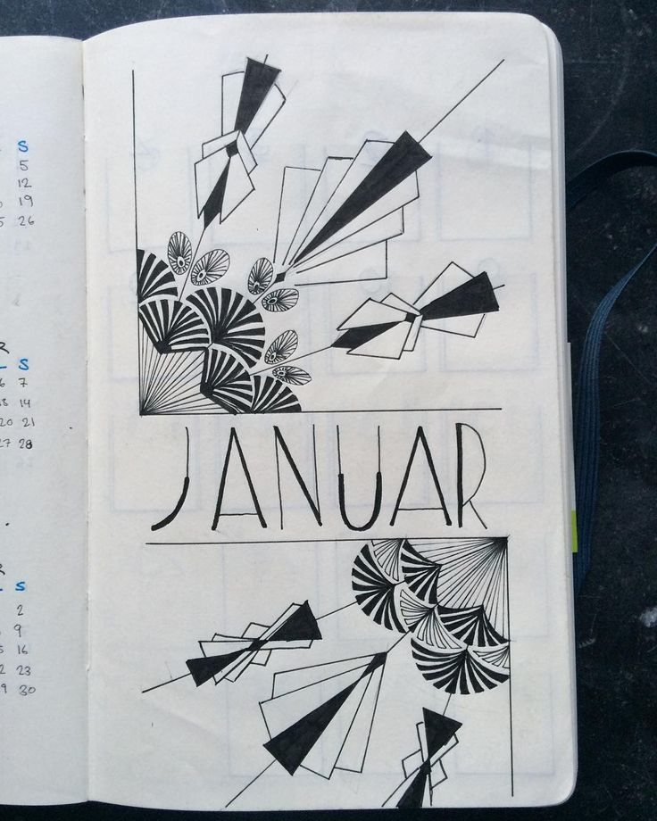 Bullet journal monthly cover page, January cover page, art deco drawing. @bujo_kbh